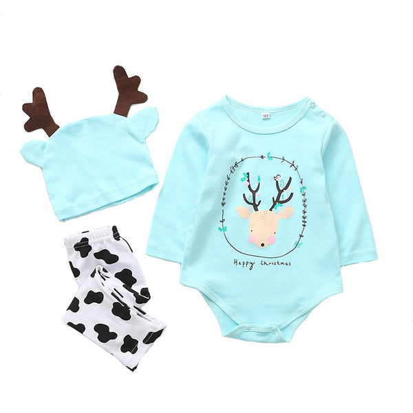 Toddler Baby 3Pcs Christmas Deer Print Romper Pajamas