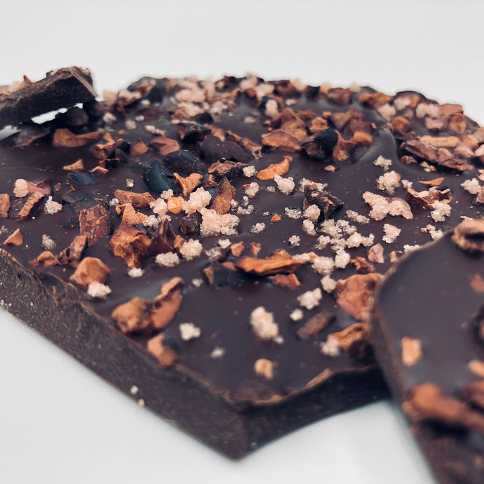Dark Chocolate Bark: Ylang ylang, Cacao Nibs & candied Rose Petals - Farmhouse Chocolates