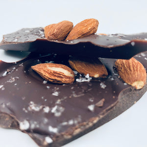 70% Dark Chocolate Bark: Sweet Orange, Toasted Almonds & Alaskan Sea Salt - Farmhouse Chocolates