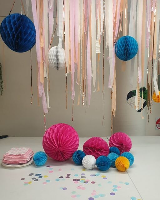 Colourful birthday party decorations