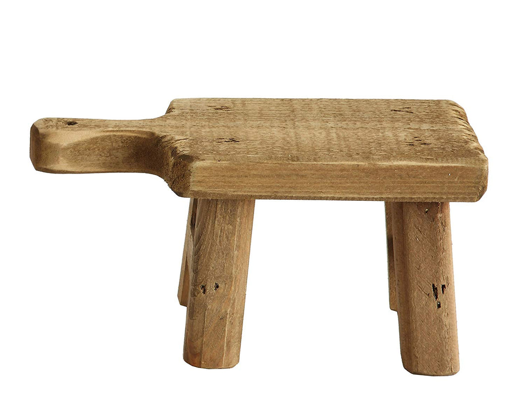 RUSTIC SQUARE WOOD STOOL SHAPED RISER WITH HANDLE