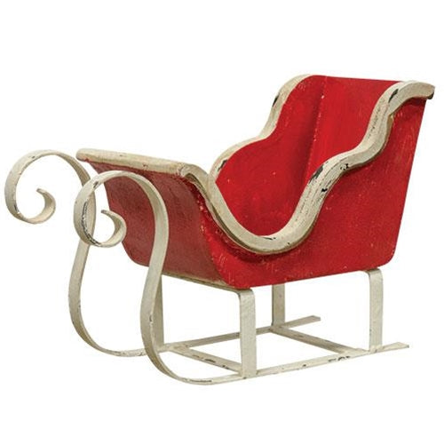 Red Wooden Tabletop Christmas Sleigh