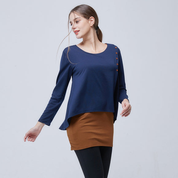 Womens Layered Look Long Sleeve Button Top Blouse