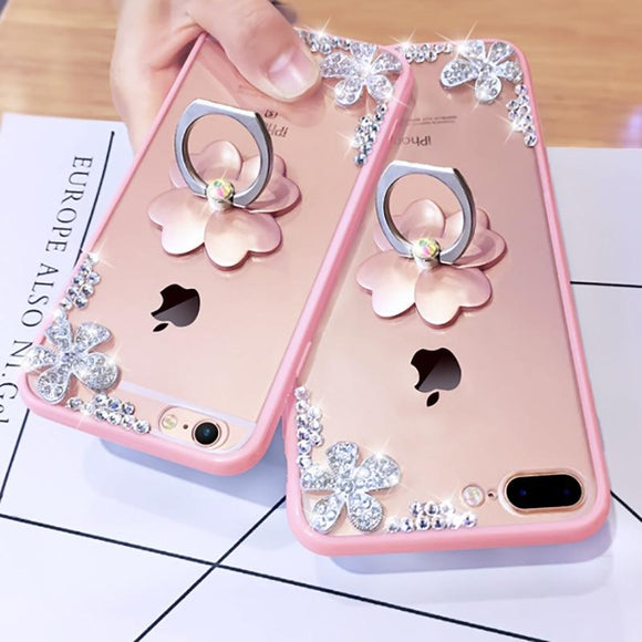 Trendy Fashion Silver Flower Case with Ring Stand for iPhone 7, 8, 8Plus, X, XS, XR and XS Max