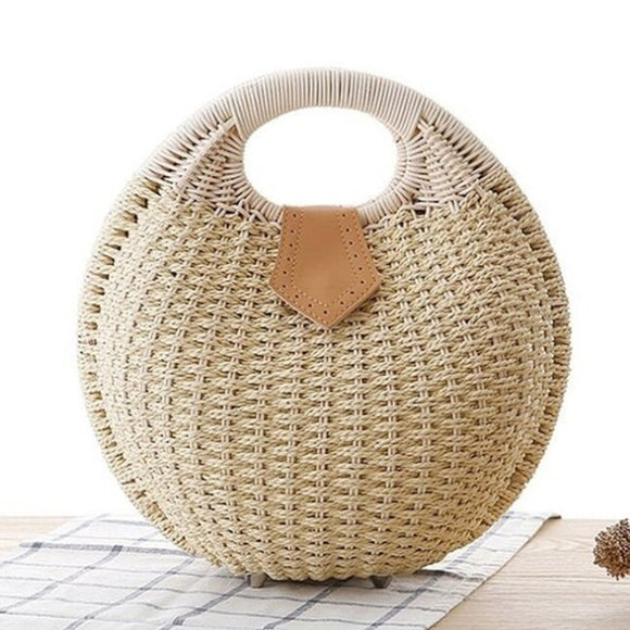Top Handle Wicker Handbag in Round Shape with Vegan Leather Details
