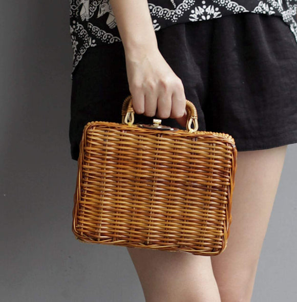 Mini Vintage Wicker Clutch Bag