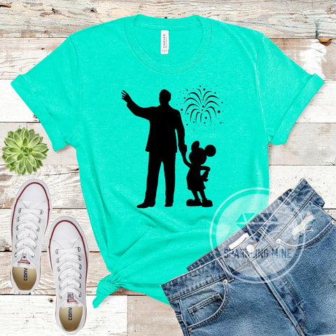 Walt and Mickey Unisex Heather Sea Green Graphic Tshirt.