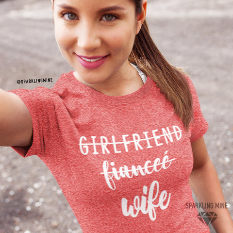 Girlfriend, Fiance, Wife Heather Red Graphic Tee.