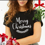 Merry Christmas Black Cotton Graphic Tee.