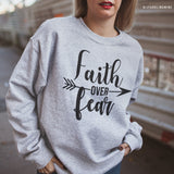 Faith Over Fear Grey Graphic Sweatshirt