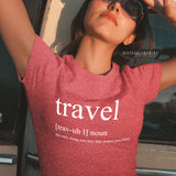 Travel Definition Heather Red Graphic Tee.