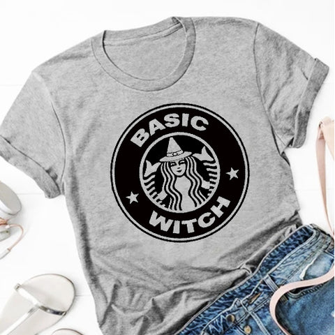 Basic Witch Heather Grey Graphic Tee.