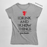 I Drink and I Know Things Grey Graphic Tee.