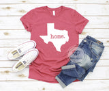 Texas is Home Heather Red Graphic Tshirt.