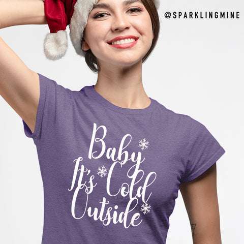 Baby It's Cold Outside Heather Purple Tshirt.
