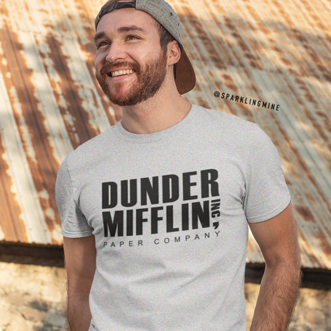 Dunder Mifflin Grey Men's Graphic Tee.