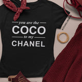 You Are the Coco to My Chanel Black Cotton Graphic Tee