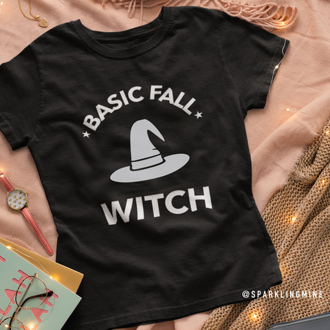 Basic Fall Witch Cotton Graphic Tee.