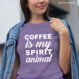 Coffee is My Spirit Animal Purple Heather Graphic Tee.