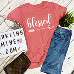Blessed Heather Red Graphic Tee.