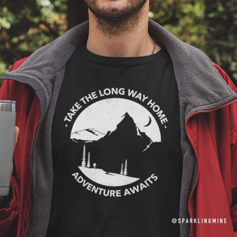 Take the Long Way Home Black Unisex Graphic Tee.