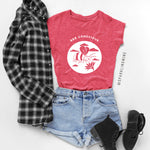 Bee Conscious Heather Red Graphic Tee.
