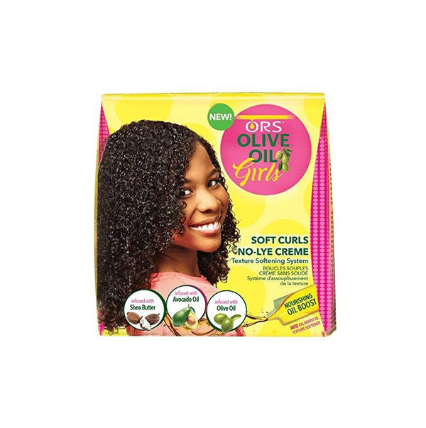 ORS Olive Oil Girls, Soft Curls No-Lye Crème Texture Softening System Kit