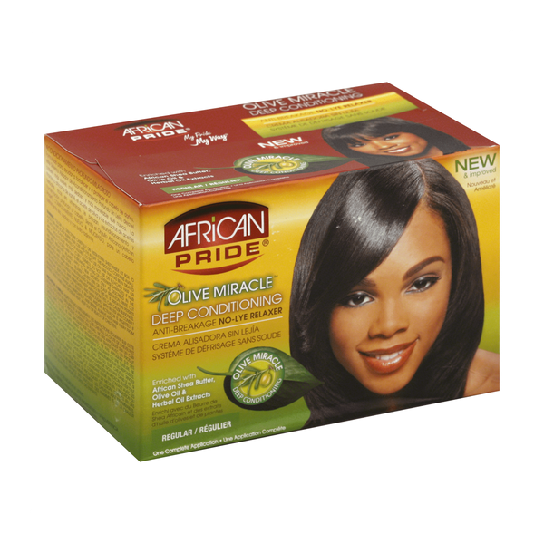 AFRICAN PRIDE OLIVE MIRACLE CONDITIONING NO-LYE RELAXER COMPLETE KIT REGULAR