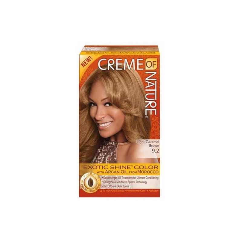 Creme of Nature Exotic Shine Color With Argan Oil, Light Caramel Brown 9.2