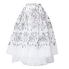 White Tulle Embroided Midi Skirt