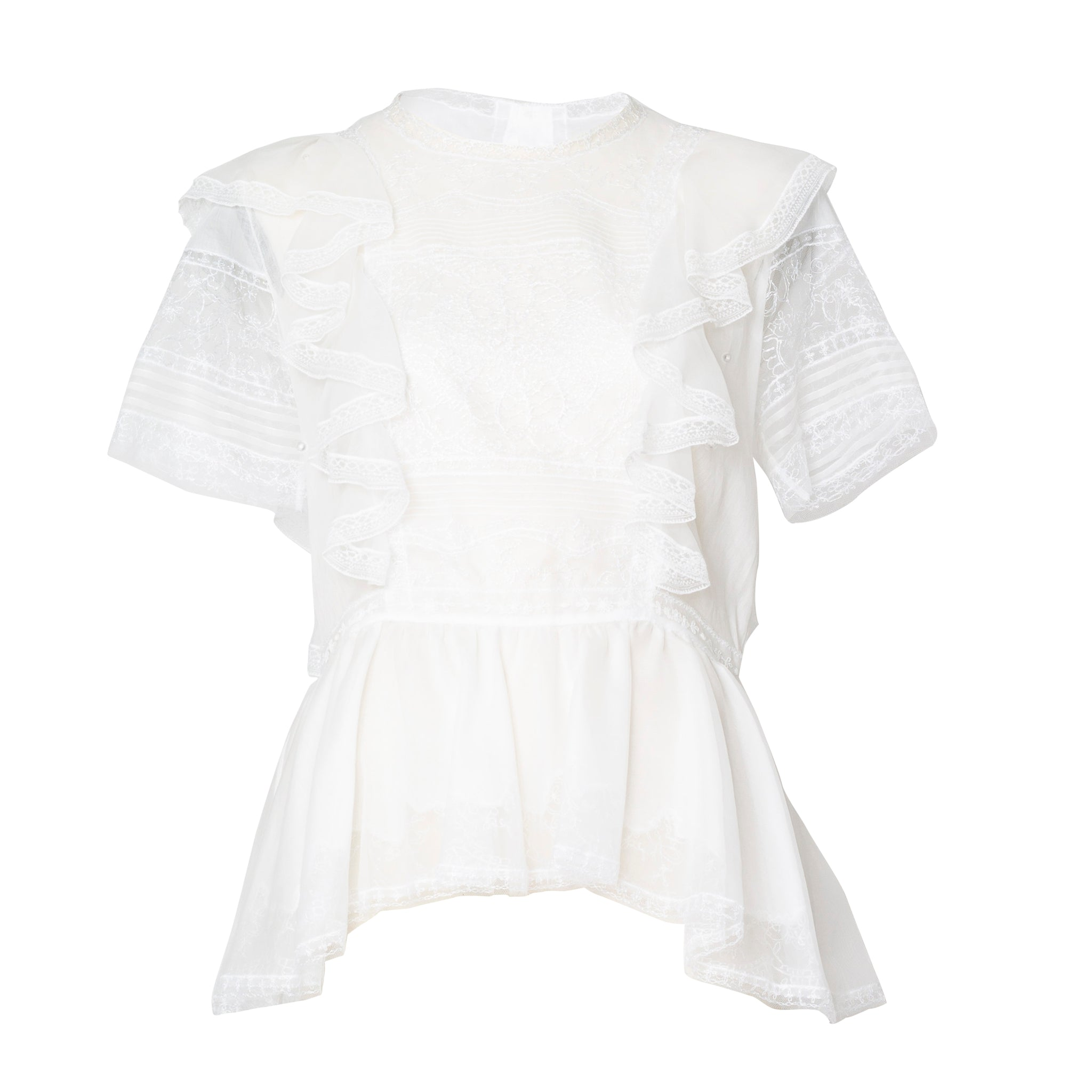White Short Sleeve Laced Blouse