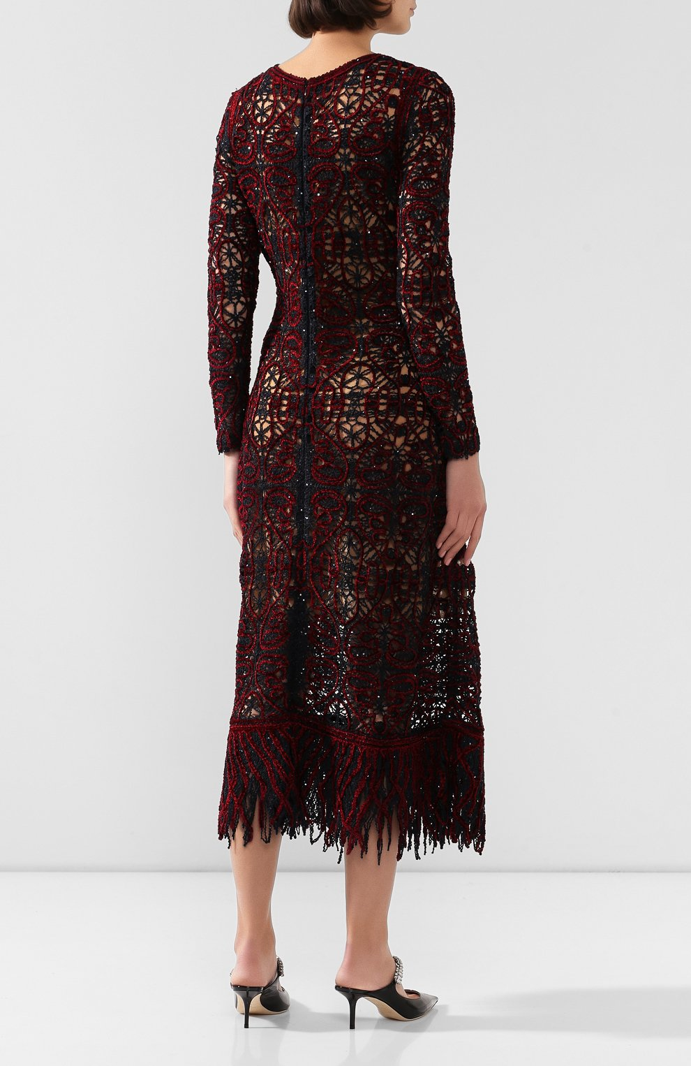 Fringe-trimmed Silk-blend Long Sleeve Dress In Black