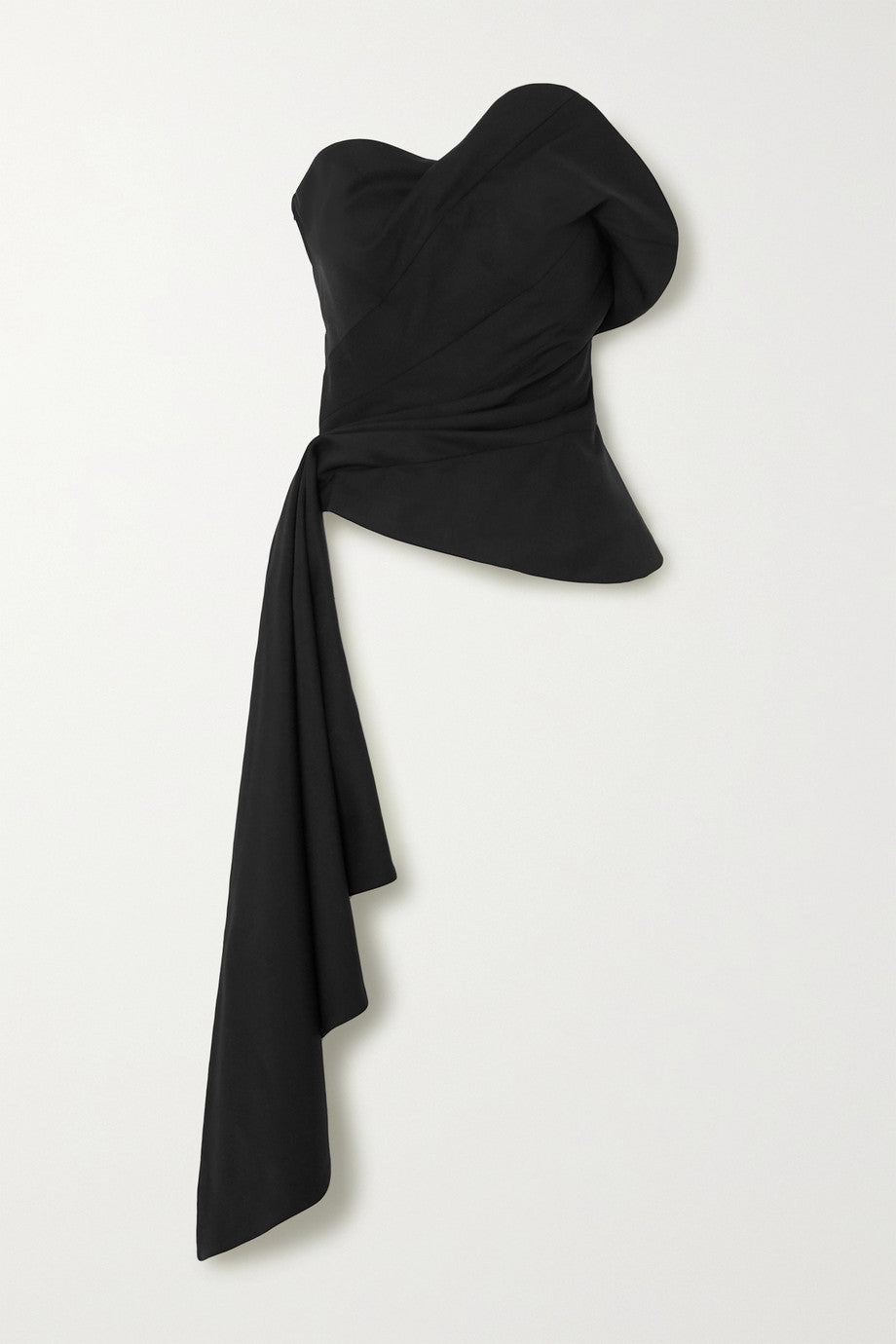 Draped Wool-Blend Twill Bustier Top