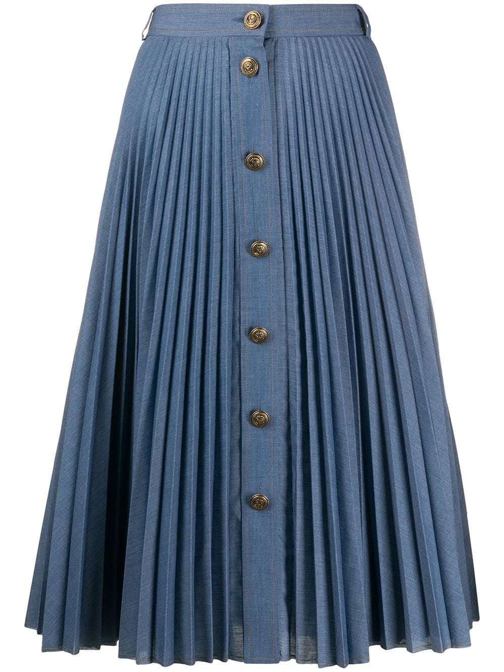 Pleated Skirt With Gold Buttons