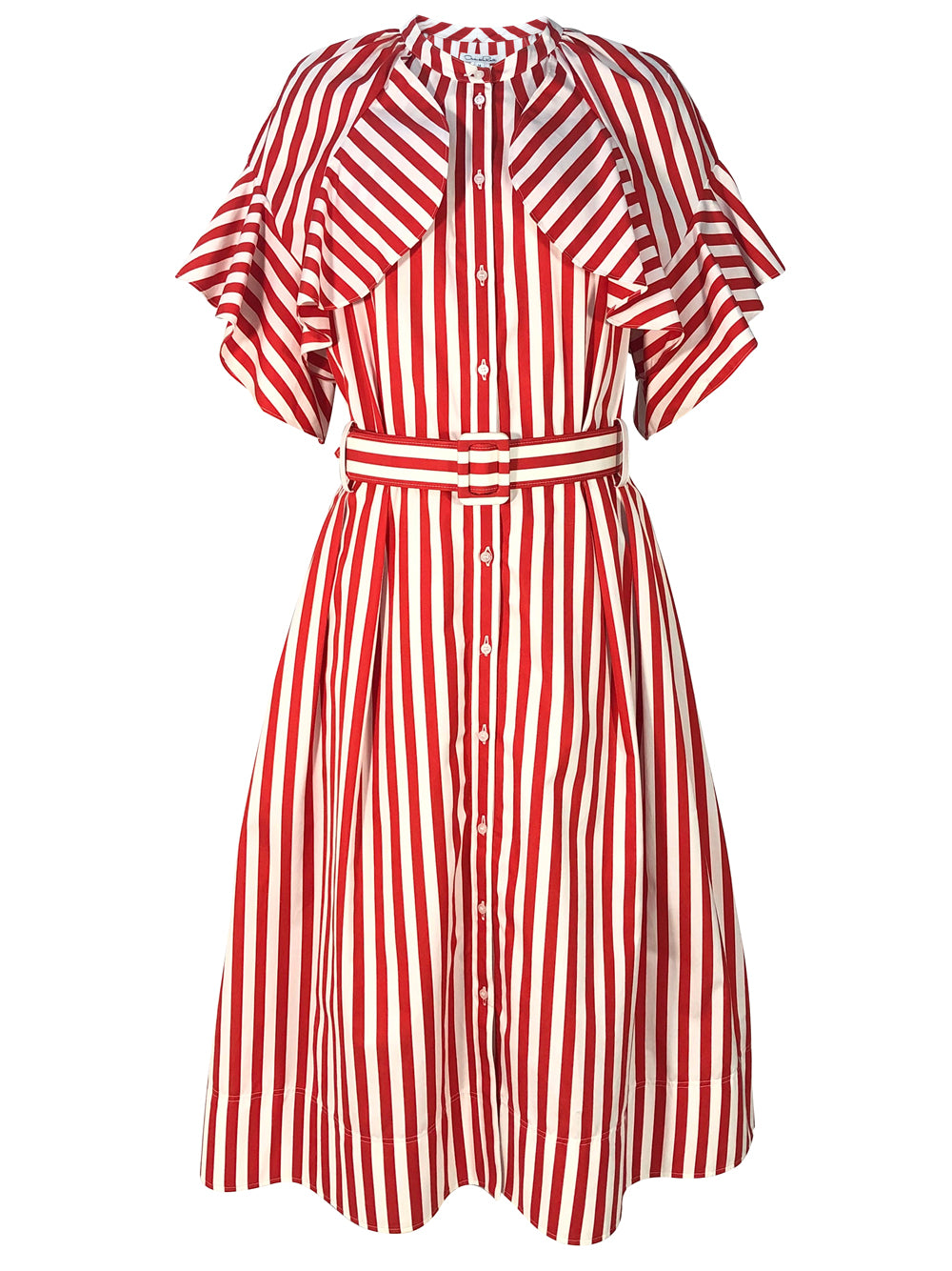 Red Striped Belt Detailed Midi Dress