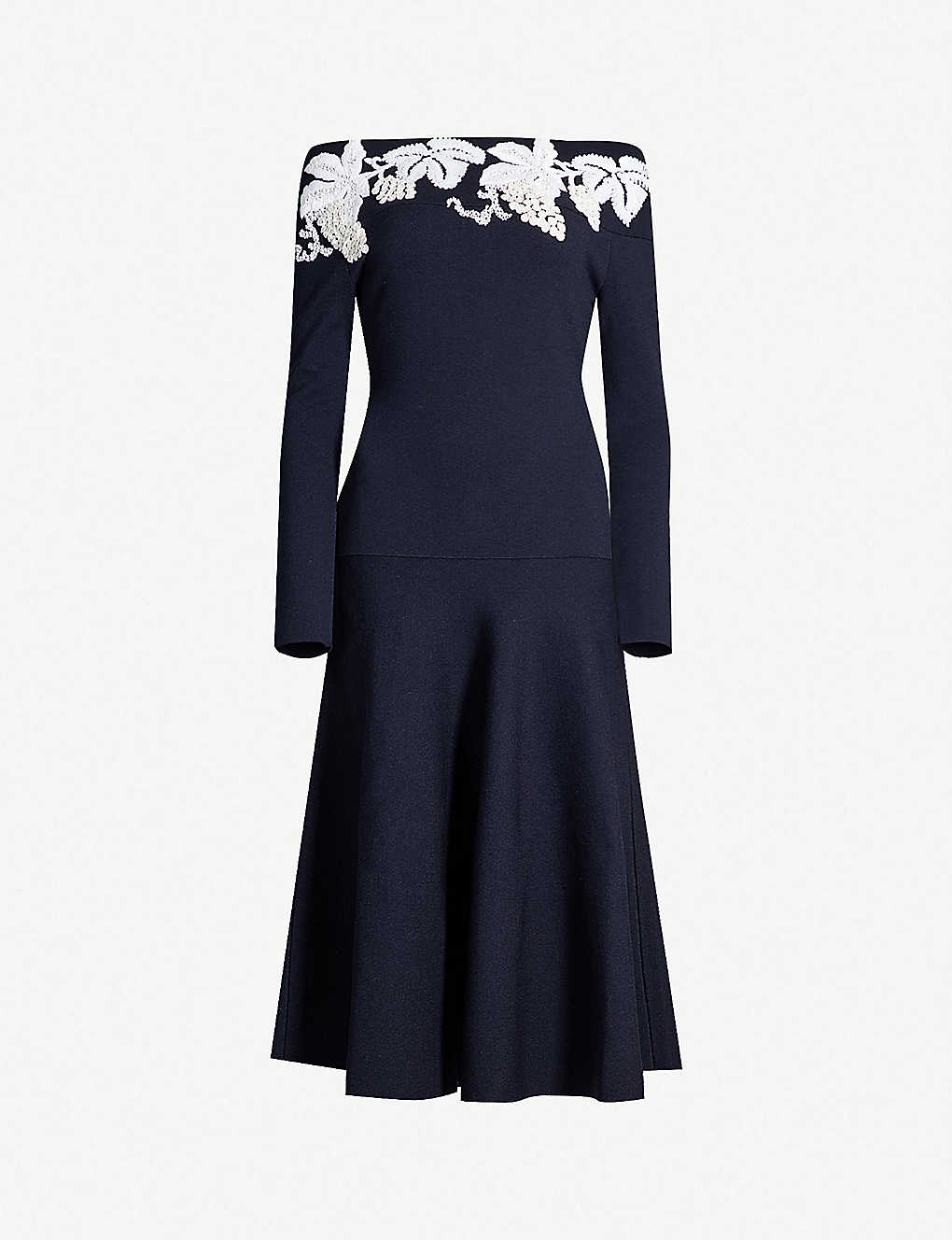 Floral-Embroidered Wool-Blend Knitted Dress