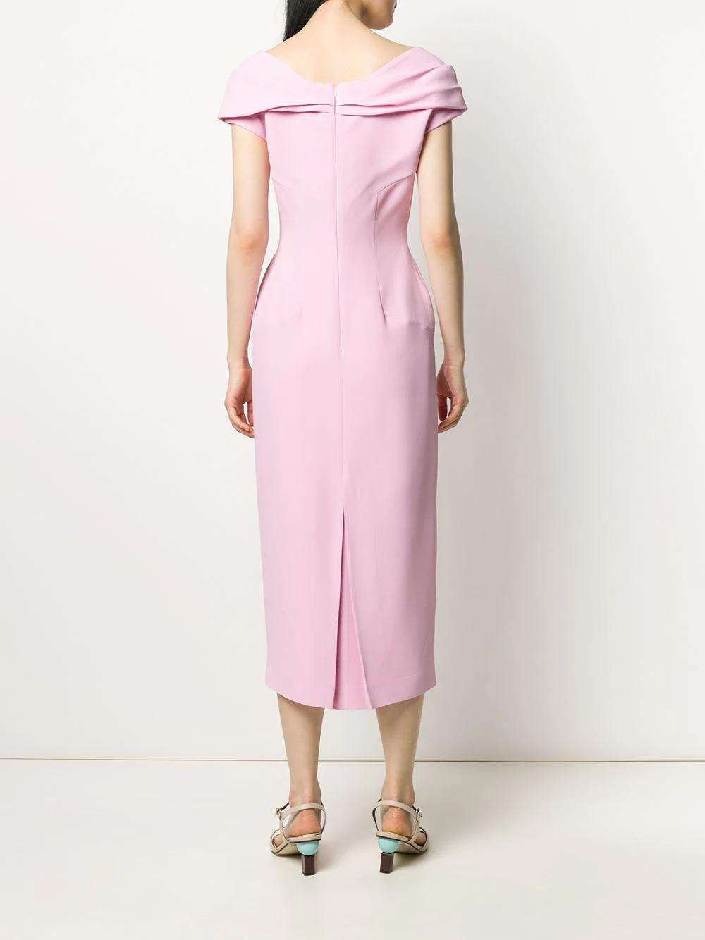 V Collar Neck Midi Dress