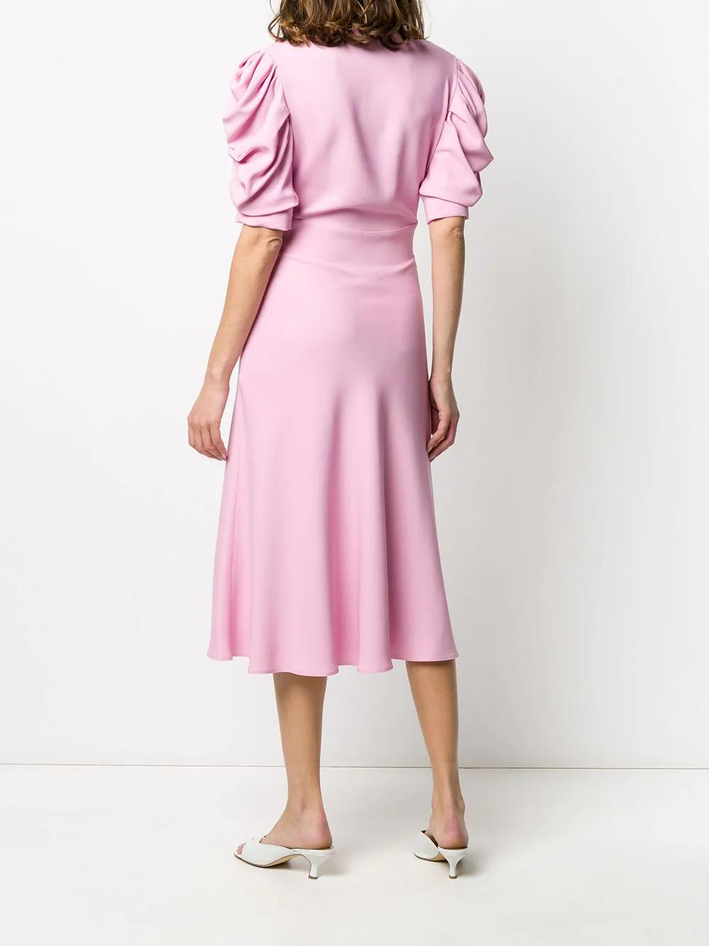V Neck Fluff Sleeve Midi Dress