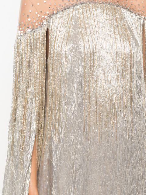 Embellished Shimmer Cape Gown in Gold