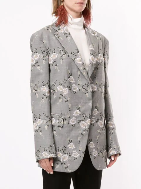 Floral Embroidered Blazer In Grey