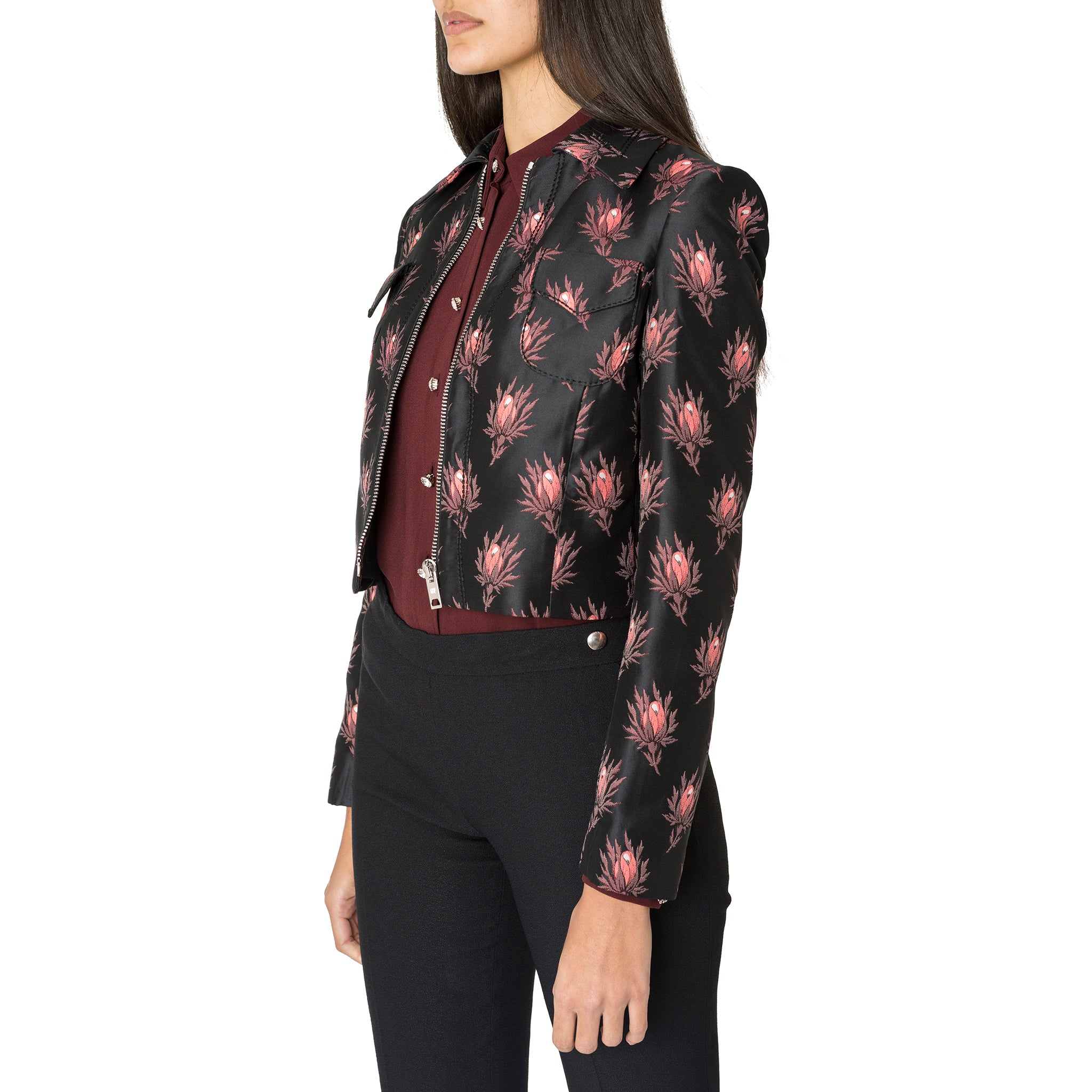 Black Flower Printed Crop Jacket