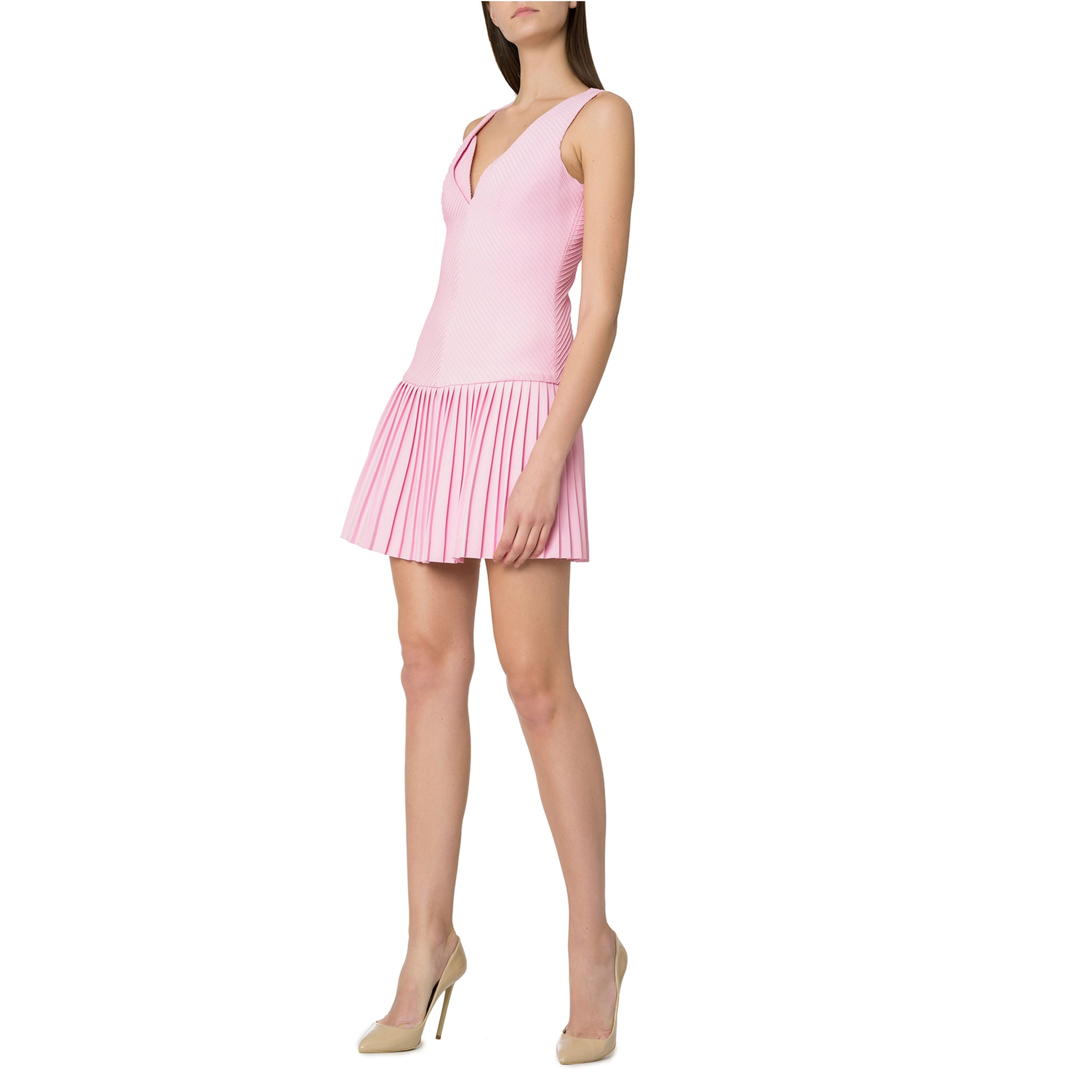 Pink Pleated Mini Dress