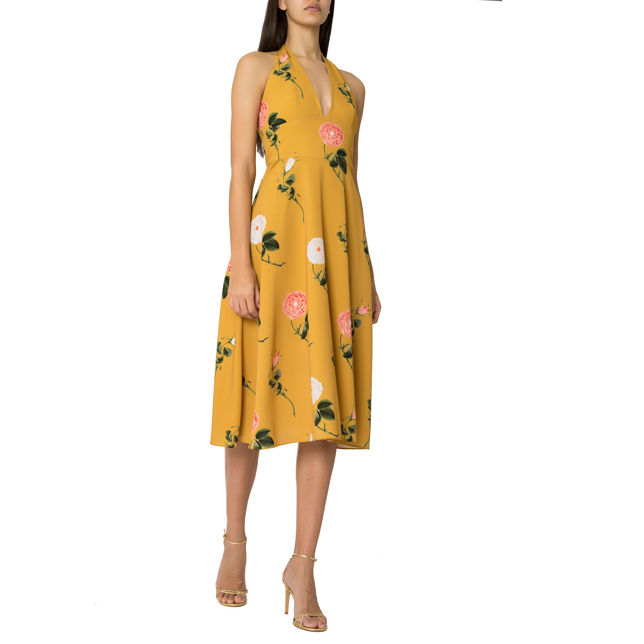 Yellow Flower Printed Open Back Midi Dress
