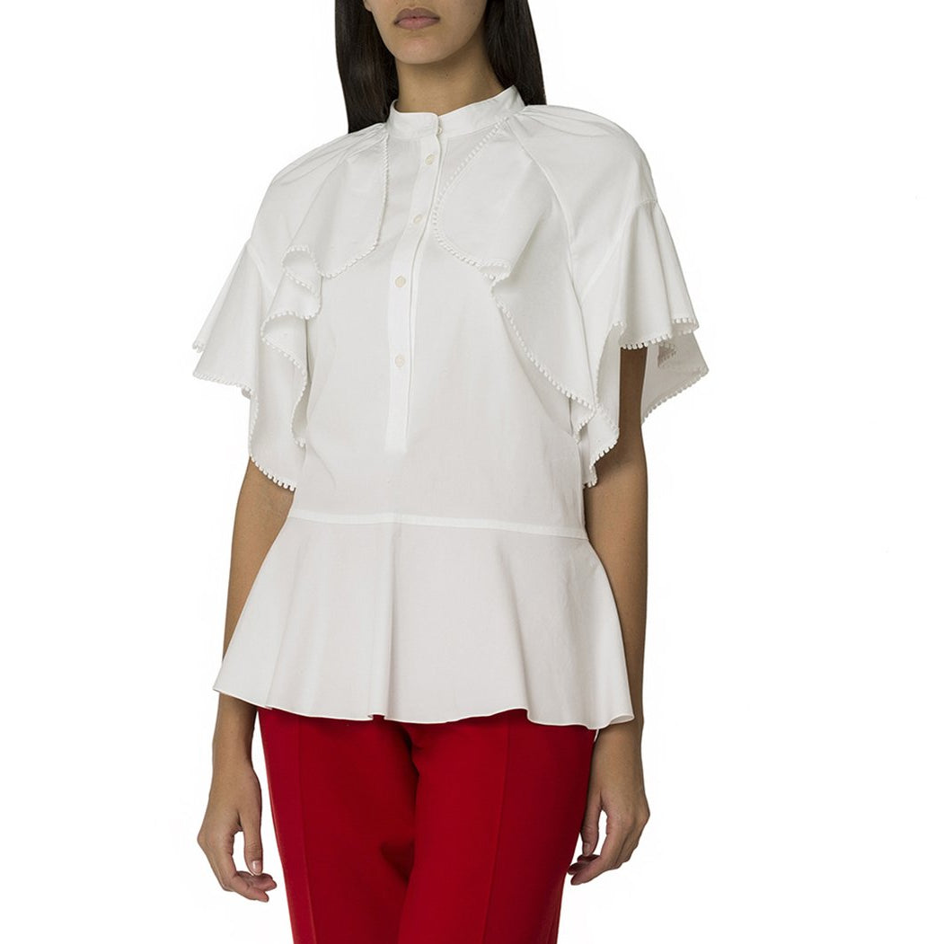White Frilled Detailed Short Sleeve Shirt