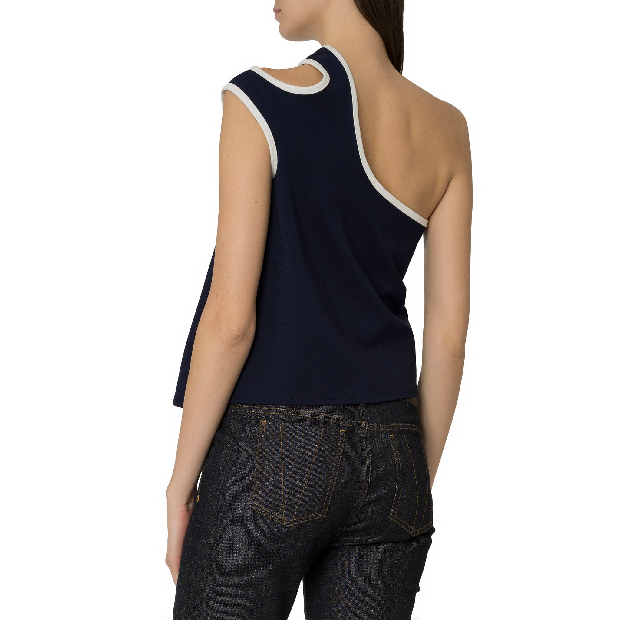 Navy One Shoulder Top