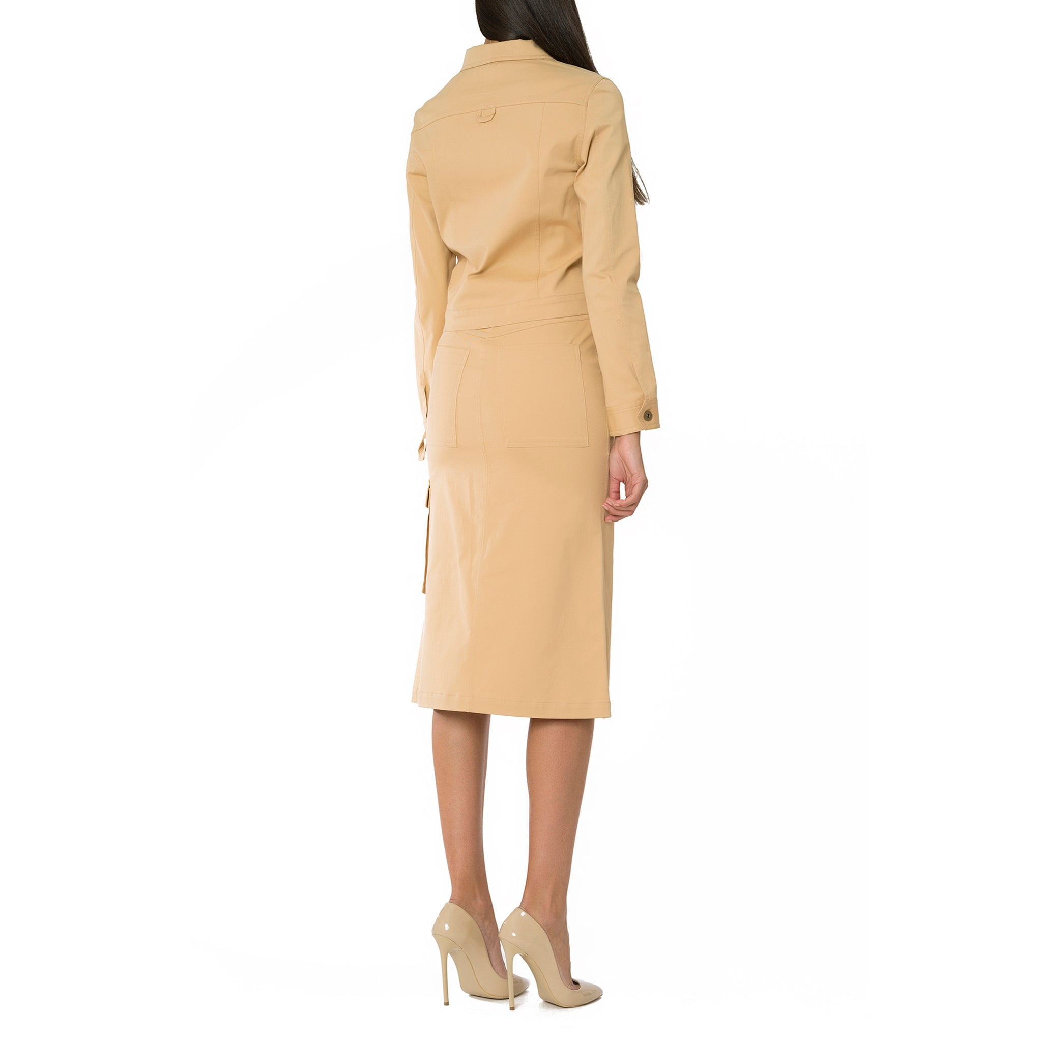 Beige Midi Skirt with Split