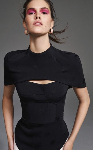 Cape-Effect Cady Bustier Top In Black
