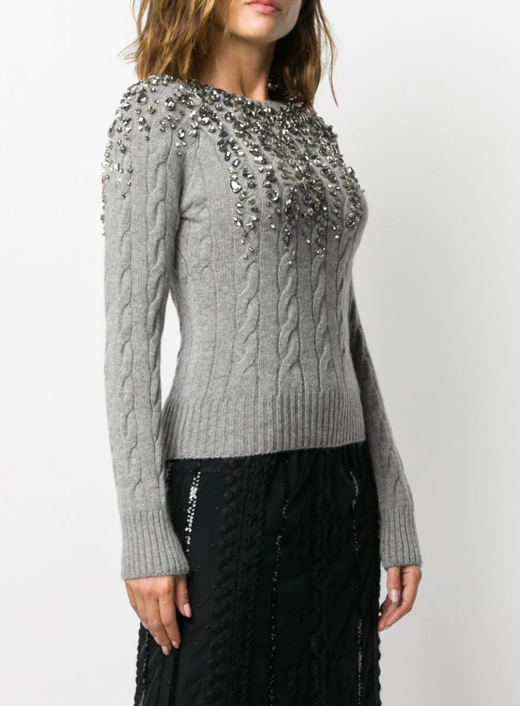 Crystal-Embellished Cable-Knit Jumper