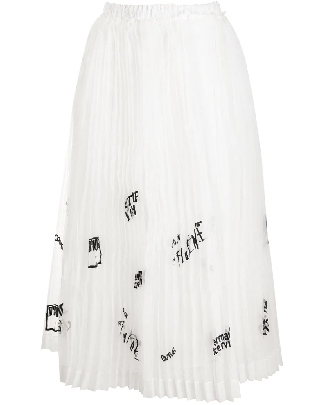 Pleated Embellished Organza Skirt