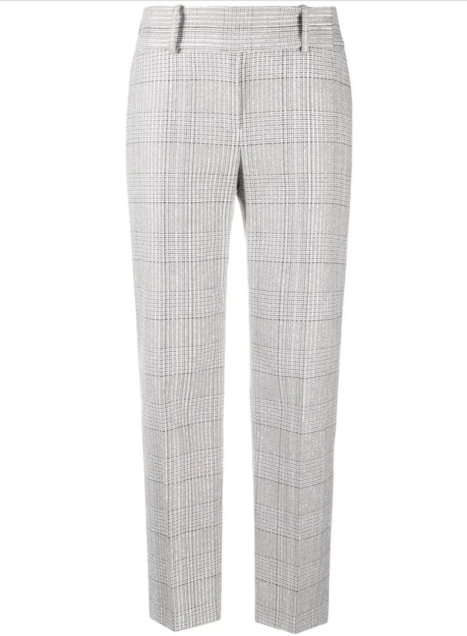 Cropped Plaid Trousers With Metallic Threading